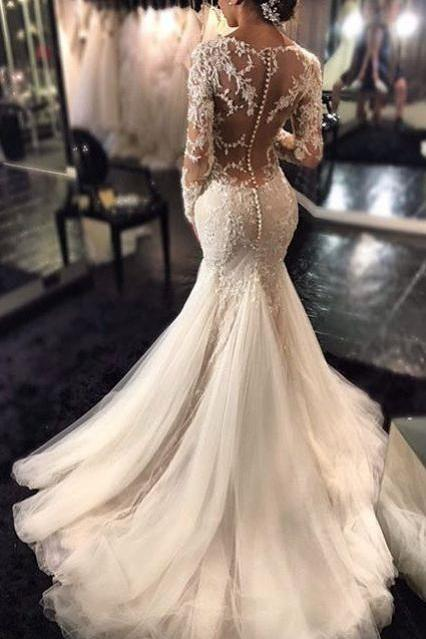 Mermaid Wedding Dress, Long Sleeves Wedding Dresses, Lace Beaded Bridal Dress,Sheer Back Sexy Bridal Gowns