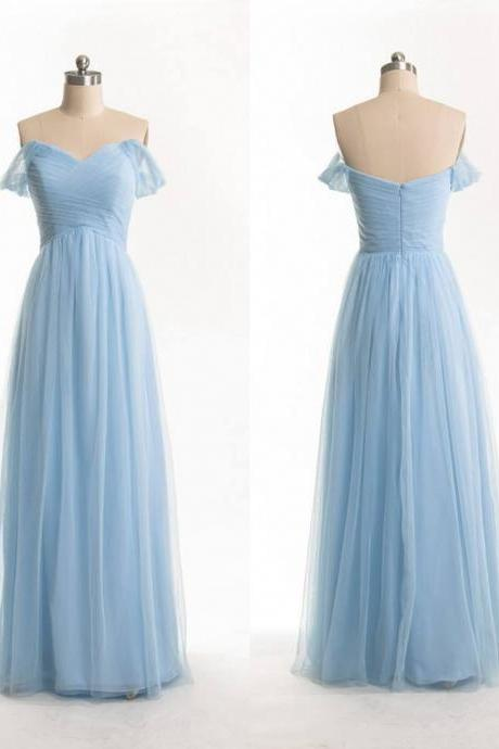 Off Shoulder Sleeves Sky Blue Bridesmaid Dress,Sexy Prom Dress,Occasion Dress,Formal Evening Party Dress