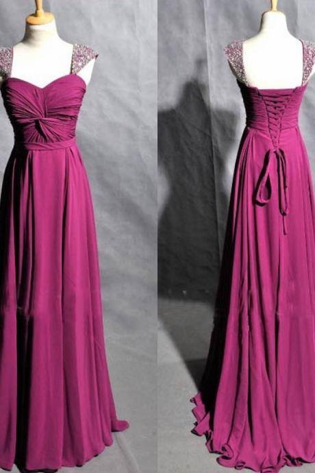 Beaded Cap Sleeves Prom Dress,Cheap Graduation Dress,Purple Evening Dress,Cap Sleeves Prom Gowns