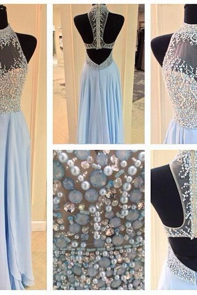 Long prom dress, junior prom dress, beading prom dress, blue prom dress, open back prom dress, charming prom dress, evening dress