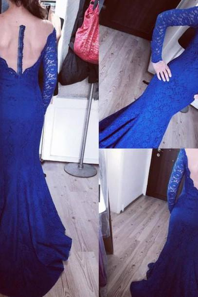 Royal Blue Prom Dresses,Lace Evening Dress,Sexy Prom Dress,Backless Prom Dresses With Long Sleeves,Charming Prom Gown,Open Back Prom Dress,Mermaid Fashion Evening Gowns for Teens