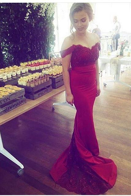 Prom Gown,Wine Red Prom Dresses With Lace,Off The Shoulder Evening Gowns,Mermaid Formal Dresses,Burgundy Prom Dresses