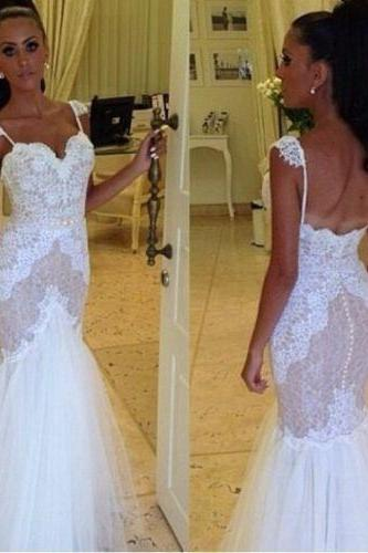 Sexy Mermaid Wedding Dress, Classic white mermaid wedding dress with spaghetti straps sweetheart lace wedding dress bridal gown US size,Shining Wedding Dresses,Bridal Dress