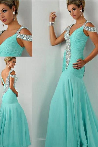 Blue Mermaid Prom Dress,Pageant V-neck cap sleeve dress Evening dress Party dress Homecoming prom dress custom