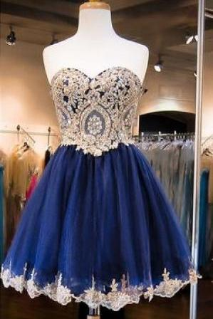 Dark Navy Homecoming Dresses ,Crystals Homecoming Dress, Beaded Prom Dresses, Sweetheart Neck Cocktail Dresses