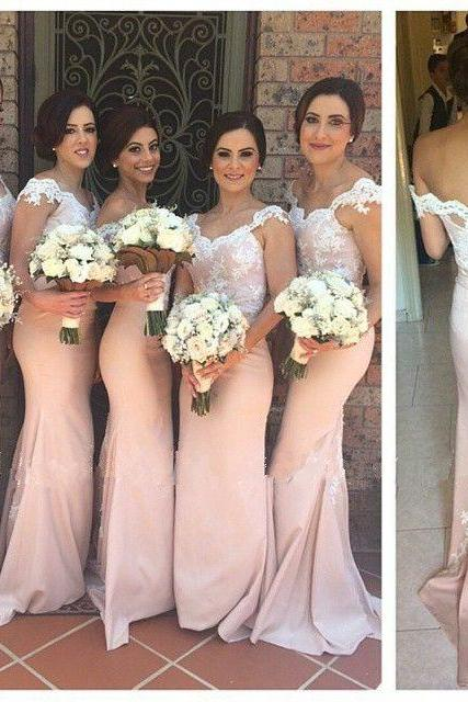Mermaid Bridesmaid Dress ,Pink Bridesmaid Dresses, Lace Bridesmaid Dress, Long Bridesmaid Dresses ,Cap Sleeve Prom Dress ,Elegant Bridesmaid Dress, Bridesmaid Dresses