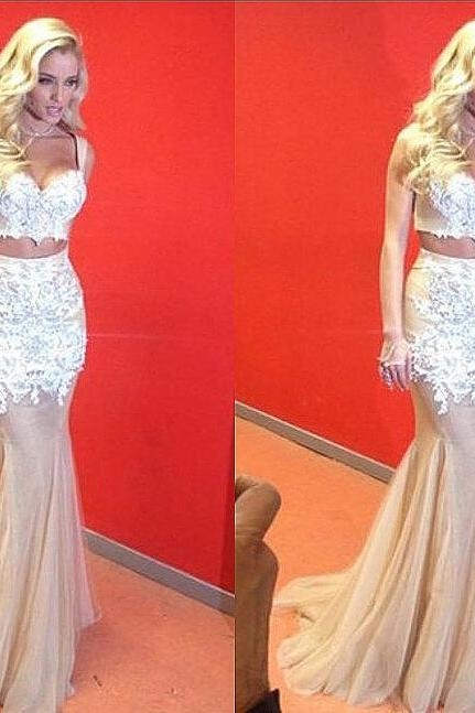 Two Piece Prom Dress, Sweetheart Appliques Prom Dresses,Sexy Long Evening Dresses Tulle Party Dress Prom Gowns