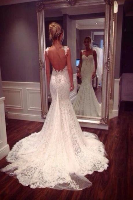Sexy Custom Made Sweetheart Wedding Dress,Backless Lace Wedding Dresses Dresses For Wedding Dresses Wedding Gowns Mermaid Wedding Dress Weddings And Events