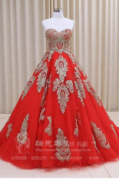 Custom Made Sleeveless Wedding Dress,red black Applique Long Ball Gown Lace Wedding Dresses, Wedding Gowns Formal Dresses Lace Wedding Dresses