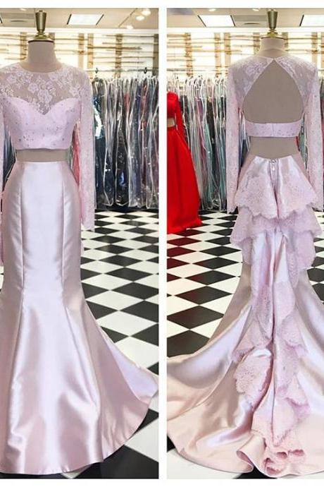 Pink Two Piece Prom Dress, Long Sleeve Mermaid Formal Gown,Backless Party Dress