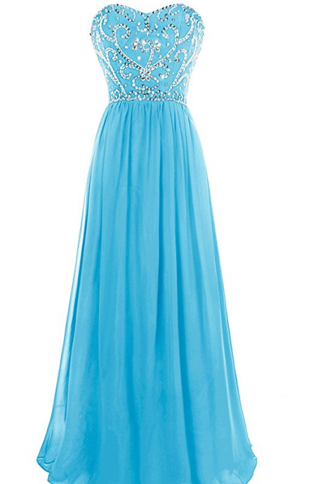 Bule Prom Dress, A Line Sweetheart Beaded Prom Dresses, Lace Up Back Floor Length Evening Dress