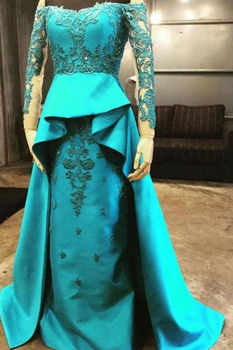 New arrival elegant party prom dress, Vestido de Festa A-line appliques prom dresses, lace-up back sweep train dress