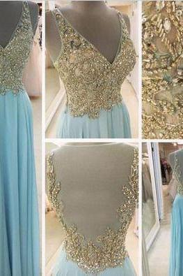 Charming Prom Dress,Long V Neck Blue Prom Dresses,Beaded Crystal Prom Dress,Chiffon Evening Dress