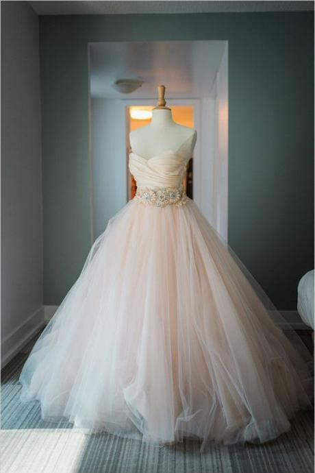 New Tulle Wedding Dress,Pink Wedding Dresses,Tulle Bridal Dresses,See Through Corset New Arrival Formal Dresses Party Gowns