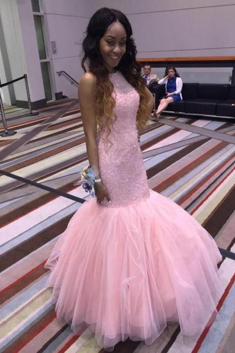 Pink Mermaid Prom Dress,Long Prom Dresses,New Arrival Formal Dresses Party Gowns