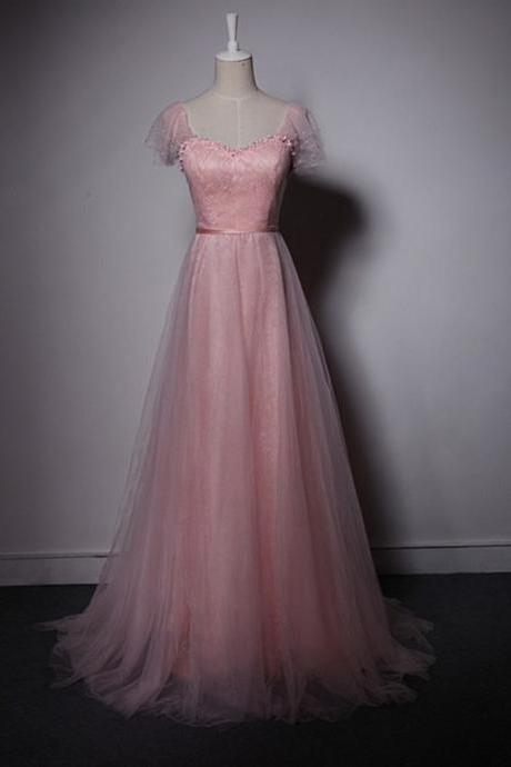 Long Prom Dress, Pink Tulle Prom Dresses,New Arrival Formal Dresses Party Gowns