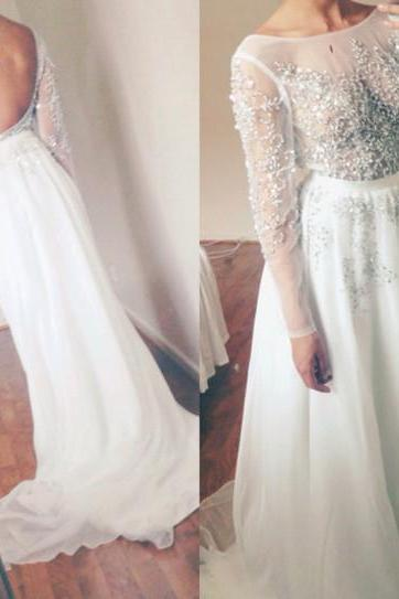 Gorgeous Beaded Prom Dress, White Prom Dresses, Scoop Neck Long Sleeve Backless Chiffon Evening Gowns Formal Dress