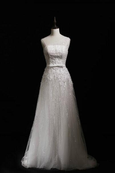 Charming Wedding Dress,Long Wedding Dresses,Beading Wedding Dress,Formal Evening Dress,Tulle Bridal Dresses