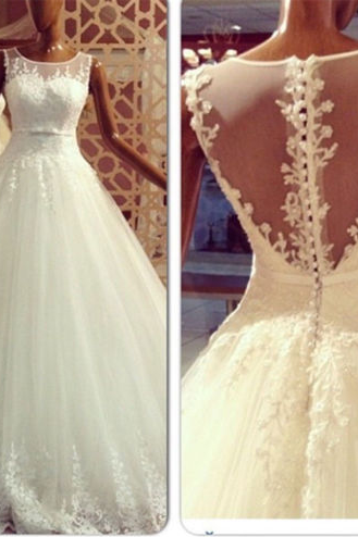 Charming Wedding Dress,White Tulle Wedding Gown,Bridal Dress,Ball Gown Wedding Dresses