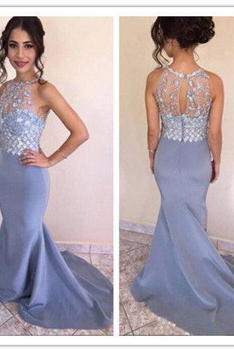 Mermaid Prom Dress Beads Sleeveless Formal Evening Gown Dresses