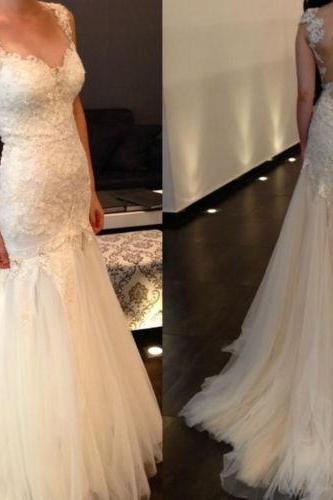 Sexy Backless Lace Wedding Dress Bridal Gowns Sleeveless Sweetheart Mermaid Tulle Wedding Dresses