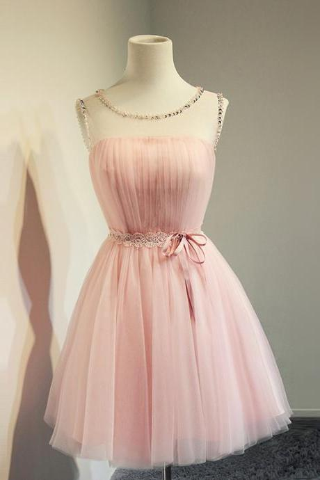 Short Tulle Homecoming Dress Featuring Embellished Strapless Bodice and Open Back Detailing