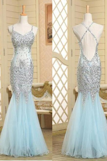 Spaghetti Strap Prom Dress, V Neck Beaded Mermaid Tulle Backless Evening Gown
