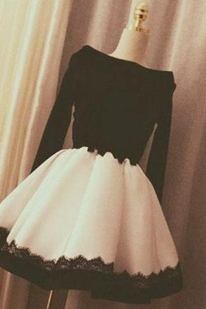 Charming Party Dresss,Sexy Evening Dress,Formal Evening Gown,Long Sleeve Short Prom Dress