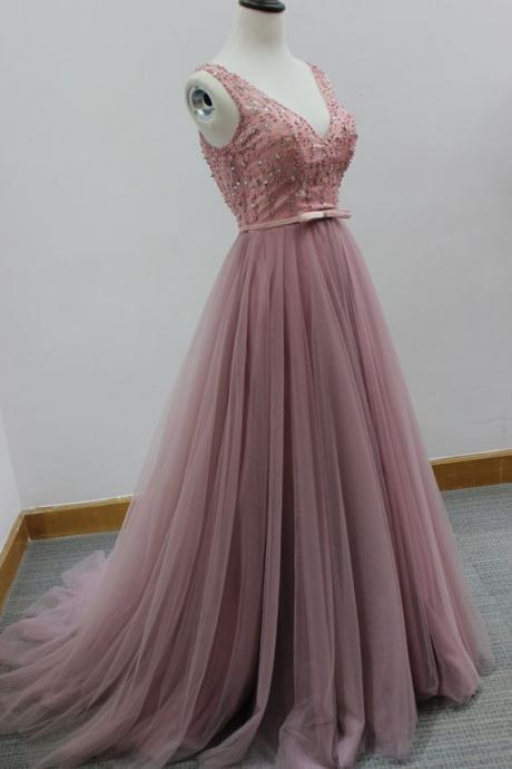 New Arrival V Neck Prom Dress,Backless Prom Dress,Sexy Evening Dress,Formal Evening Gown