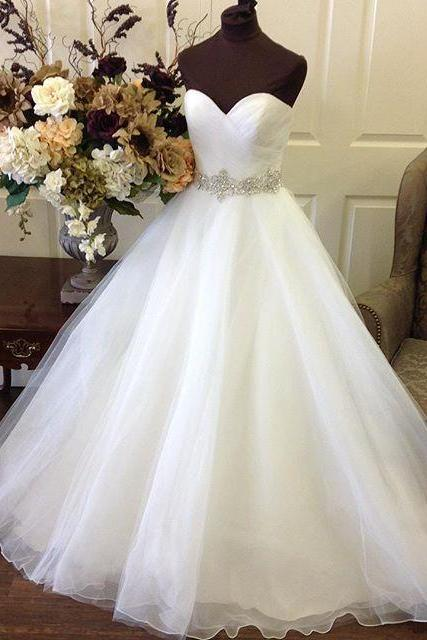 Ruched Sweetheart Floor Length Tulle Wedding Gown Featuring Beaded Embellished Belt