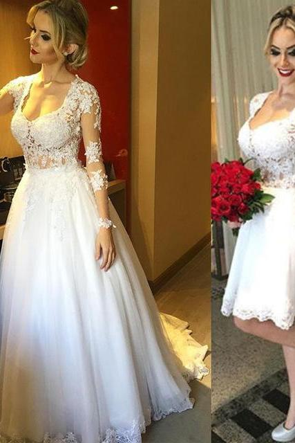 New Short Wedding dress,.Short Wedding dresses, A line Bridal Dresses,Detachable train Party Dresses