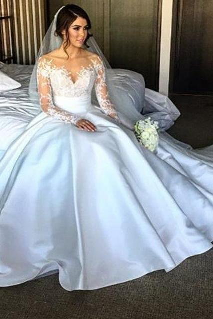 New Elegant Long Sleeve Wedding Dress,Appliques Taffeta Ball Gown Wedding Dresses,Princess Wedding Dresses Bridal Gowns Vestido De Noiva
