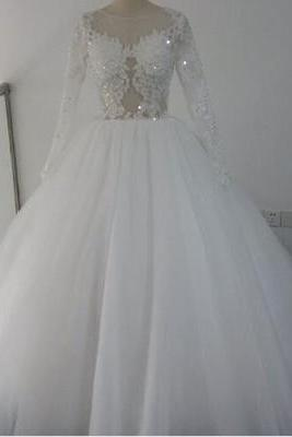 Charming Wedding Dress,Long Sleeve Tulle Wedding Dresses,Ball Gown Wedding Gown,Bridal Dresses