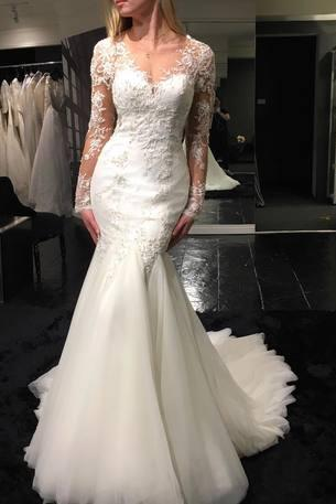 New Arrival Wedding Dress,Long Sleeve Mermaid Wedding Dresses,V Neck Appliques Bridal Dresses,Wedding Gown