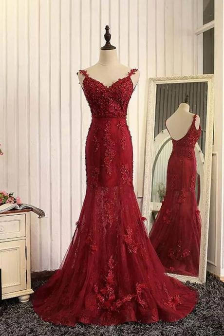 Charming Prom Dress,Sexy Red Prom Dress,Long Prom Dresses,Mermaid Evening Dress,Formal Evening Dress,Appliques Prom Dress