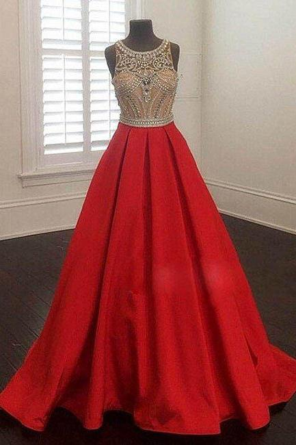 Charming Prom Dress,Sexy Prom Dress,Crystal and Beading Prom Dresses,Beading Evening Dress,Red Ball Gown Evening Dresses,Formal Gown