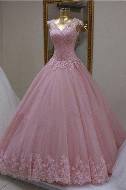 Long Prom Dress,Ball Gown Appliques Prom Dresses,Tulle Prom Dress,Pink Quinceanera Dress,Formal Dress