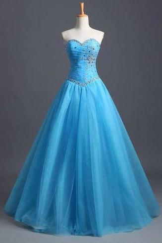 Charming Prom Dress,Ball Gown Tulle Blue Prom Dresses, Beading Evening Dress, Backless Prom Dresses, Floor Length Prom Dress