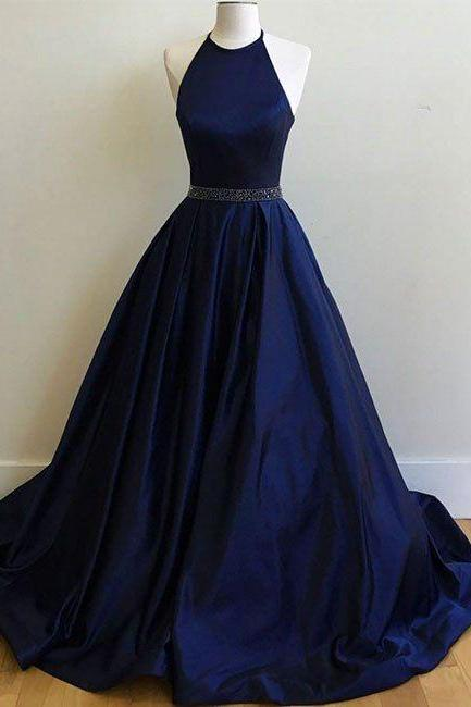 Charming Prom Dress,Sexy Prom Dress, Simple Halter Prom dress, Navy Blue Prom Dresses, Ball Gowns