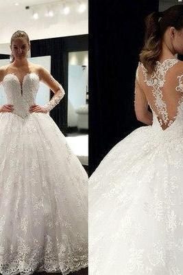 Lace wedding dress,long sleeve wedding dresses,high quality bridal dress,puffy wedding dress,charming wedding dress
