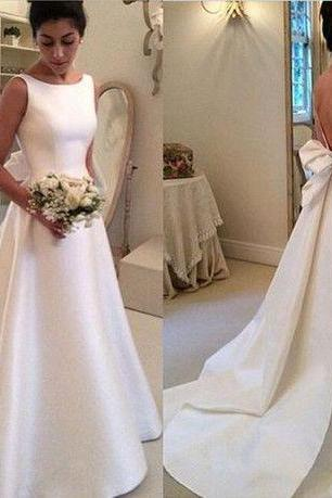 Charming Wedding Dress,Satin Wedding Dress,Noble Wedding Dresses,Backless bridal Dress