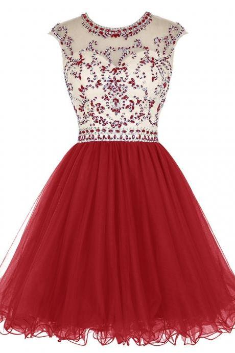 Red Tulle Homecoming Dress,Beading Homecoming Dresses,Short Prom Dress