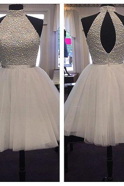 Beaded Embellished High Halter Neck Short Tulle Homecoming Dress Featuring Open Back