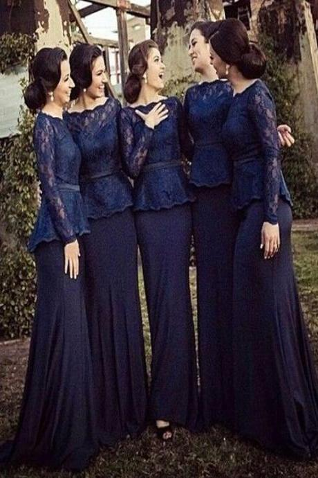 Long Bridesmaid Dress,Long Sleeve Navy Blue Bridesmaid dress, Bridesmaid dresses with lace, Mismatched bridesmaid dresses, Wedding party dress, Simple Elegant bridesmaid dress, Winter bridesmaid dress, Cheap bridesmaid dress