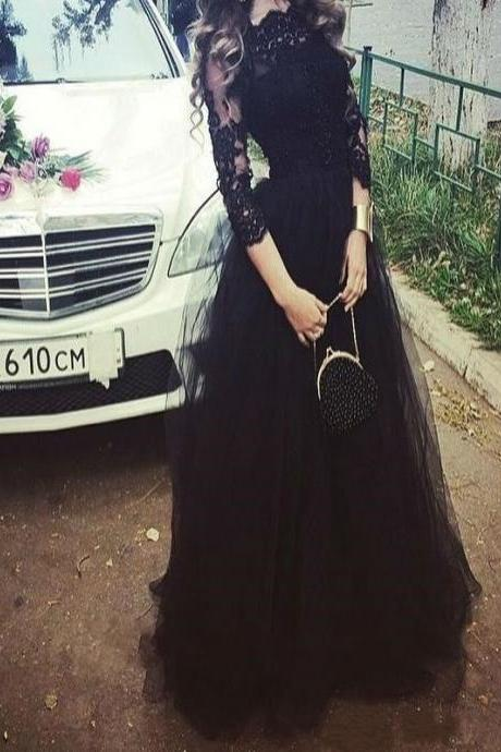 Long Custom Prom Dress, Long Sleeve prom dress, Black Lace prom dress, Charming Evening Party dress, Prom Gown , Unique Style prom dress, Dress for prom