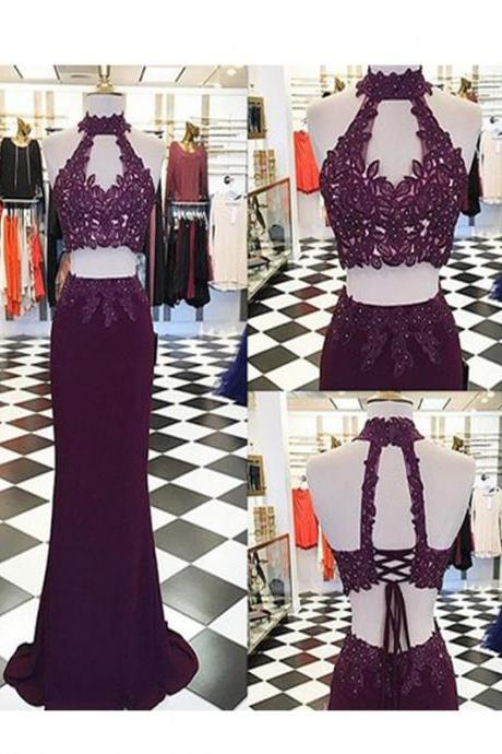 Long Prom Dress, Burgundy prom dress, Hater prom dress, Two pieces prom dress, Vintage prom dresses, Elegant prom dress, Formal dresses, Lace Prom dresses
