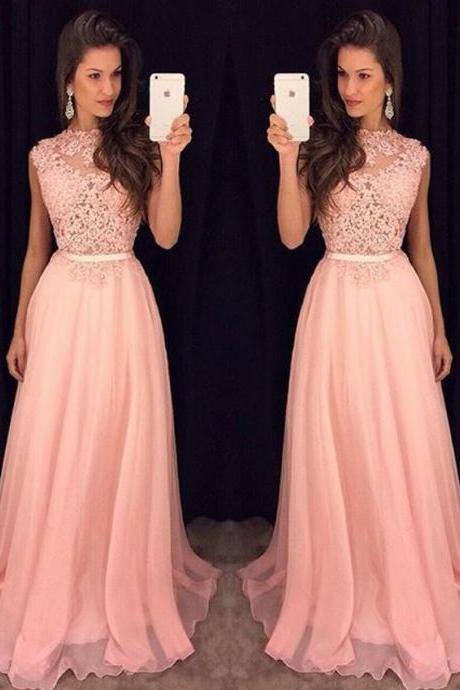 Prom Dress, Blushing Pink Prom Dress, Long Prom Dress, Chiffon Prom Dress, Lace Prom Dress, Full Back Prom Dress