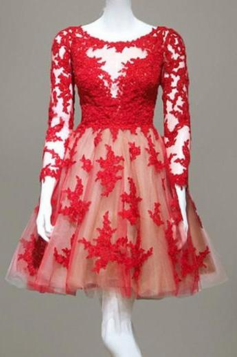 Red Lace Prom Dress,Long Sleeve Prom Dress,Short Homecoming Dress,Tulle Homecoming Dress,Short Dress for Prom,Graduation Dress for Teens