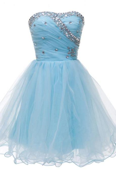 Sweetheart Ball Gown Homecoming Dress,Evening Dress Party Short Tulle Prom Dresses Blue Pink Homecoming Gowns Homecoming Dresses