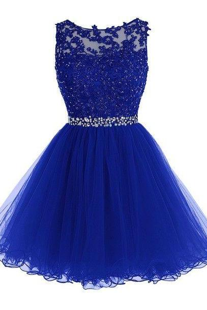 Fashion Prom Dress,Blue Homecoming Dress,Tulle Homecoming Dresses,Short Prom Gown,Beaded Prom Dress for Teens
